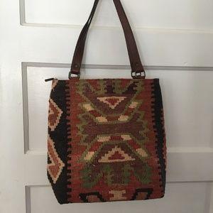 vintage Yun Art Kilim Carpet Shoulder Bag Purse